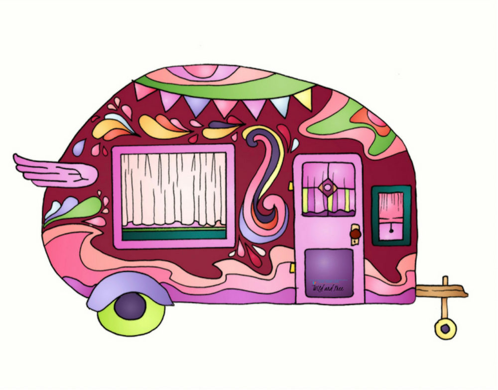 Pink Vintage Camper Van Sticker #camping #stickers #campingstickers