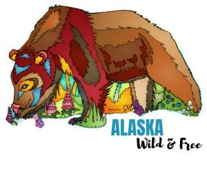 Alaska Wild & Free Brown Bear Vinyl Sticker #stickers #alaska #brownbear #bears #wildandfree