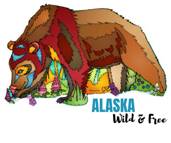 Alaska Wild & Free Brown Bear Vinyl Sticker #stickers #alaska #brownbear #bears #wildandfree