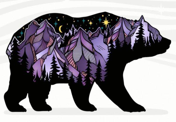 Purple Alaska Bear Sticker #bears #stickers #bearsticker