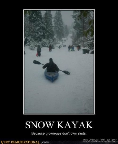 Snow kayaking is a real thing in Alaska! #camping #campingmemes #wintercamping