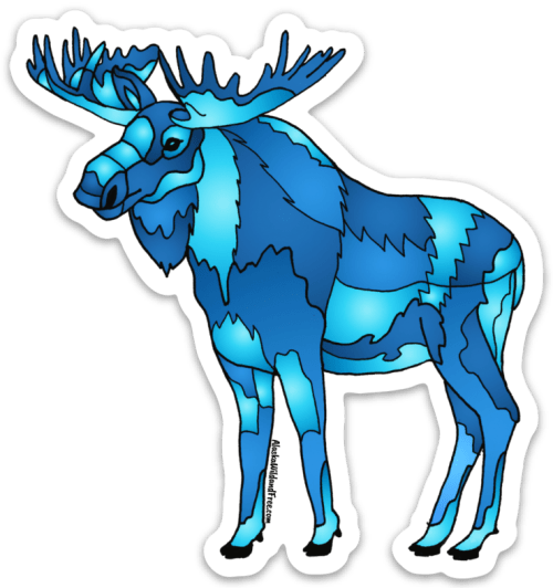 Blue Moose Sticker #bluemoose #moose #alaska