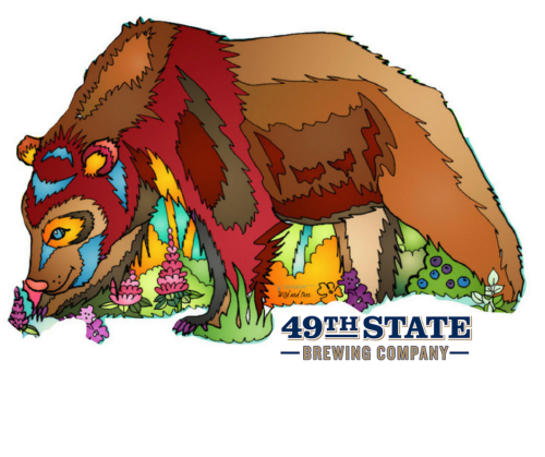 Brown Bear Sticker with 49th State logo #49thstate #brownbear #bearsticker