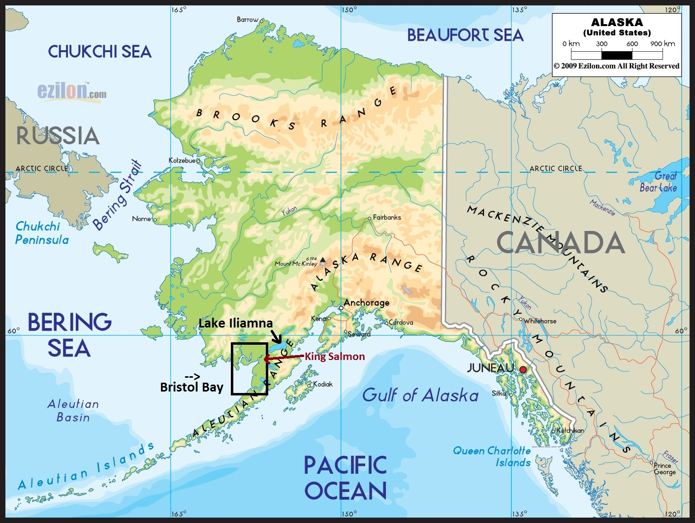 Map of King Salmon, Alaska known for epic salmon fishing #kingsalmon #fishingalaska #alaska