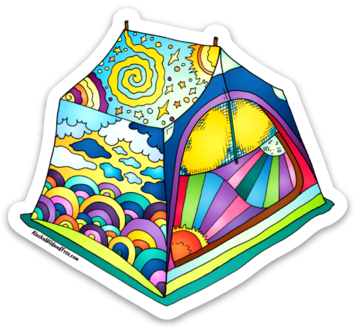 Dreaming Tent Sticker #campingstickers #tentsticker #camping