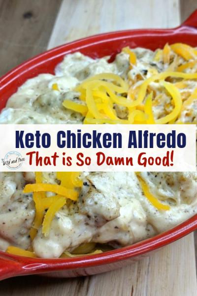 This Delicious Keto Chicken Alfredo will help you beat those comfort food cravings. #keto #ketorecipes #ketochickenalfredo