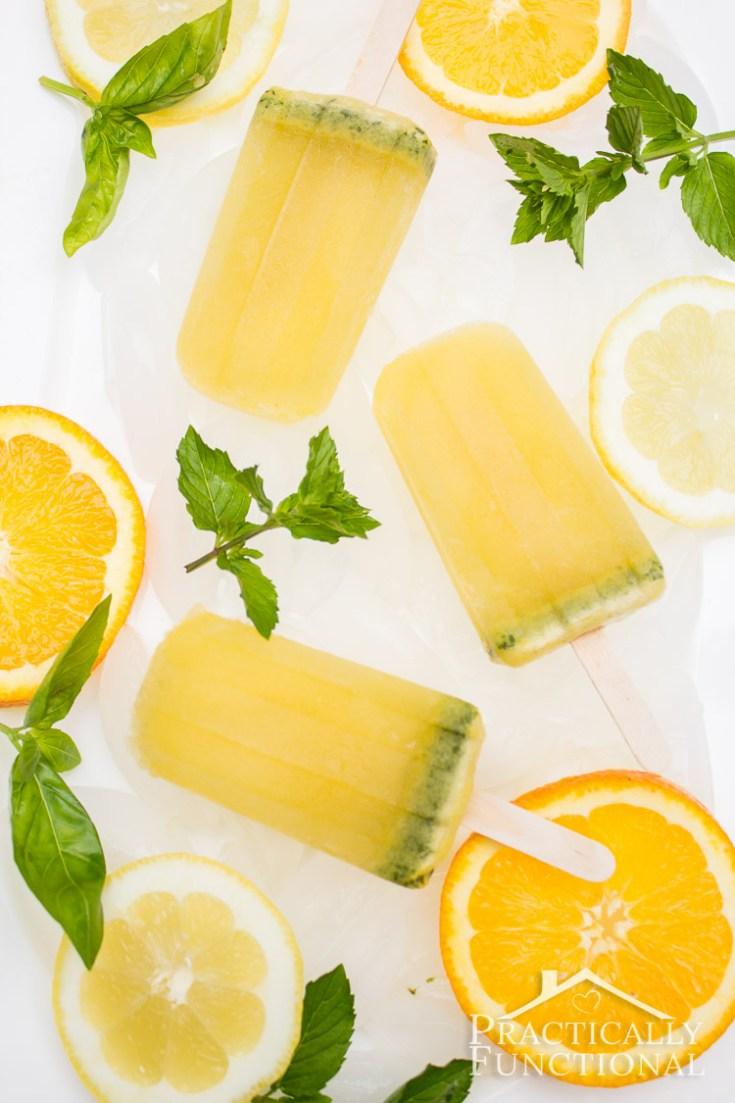 Basil Mint Citrus Mojito Popsicles