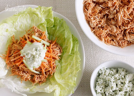 Buffalo Chicken Lettuce Wraps (Slow Cooker, Instant Pot)
