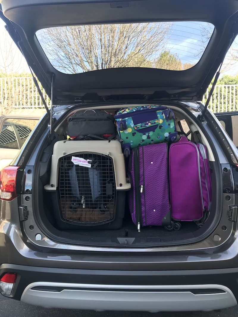 The Outlander's storage ability - 5 bloggers, 7 pieces of luggage, 1 dog crate, and 1 puppy