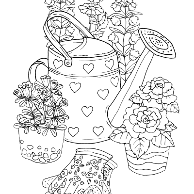 Garden Pail Coloring Sheet