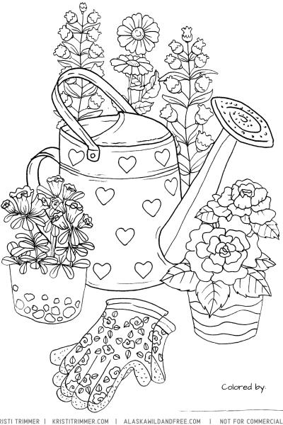 Free Gardening Coloring Printable