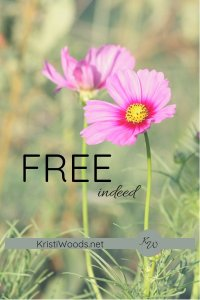 """Pink flower with green background with the words """" Free Indeed """" on it"""