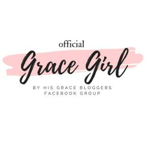 Official Grace Girl Facebook Group in black letters on white background with a paintstroke of pink in the background.