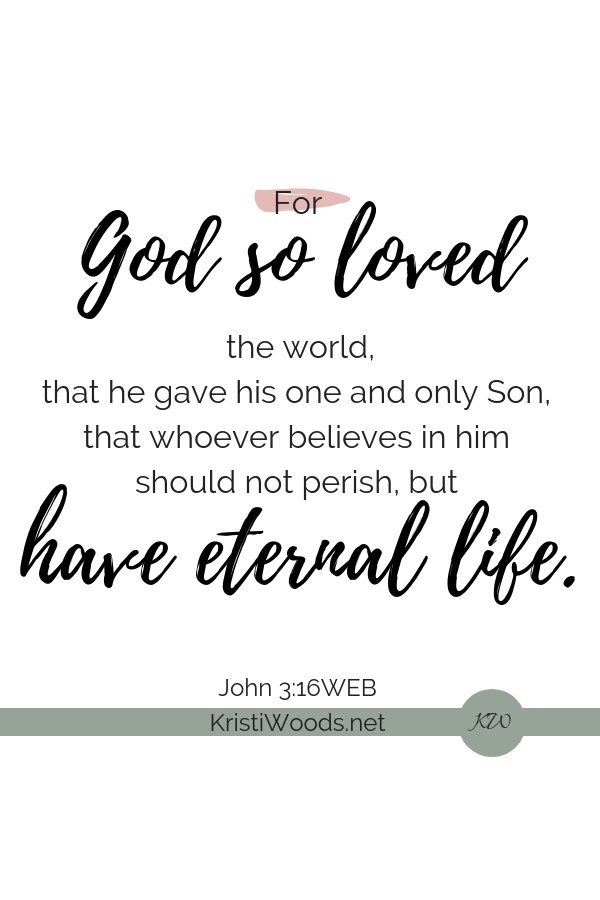 The words of John 3:16 on a white background