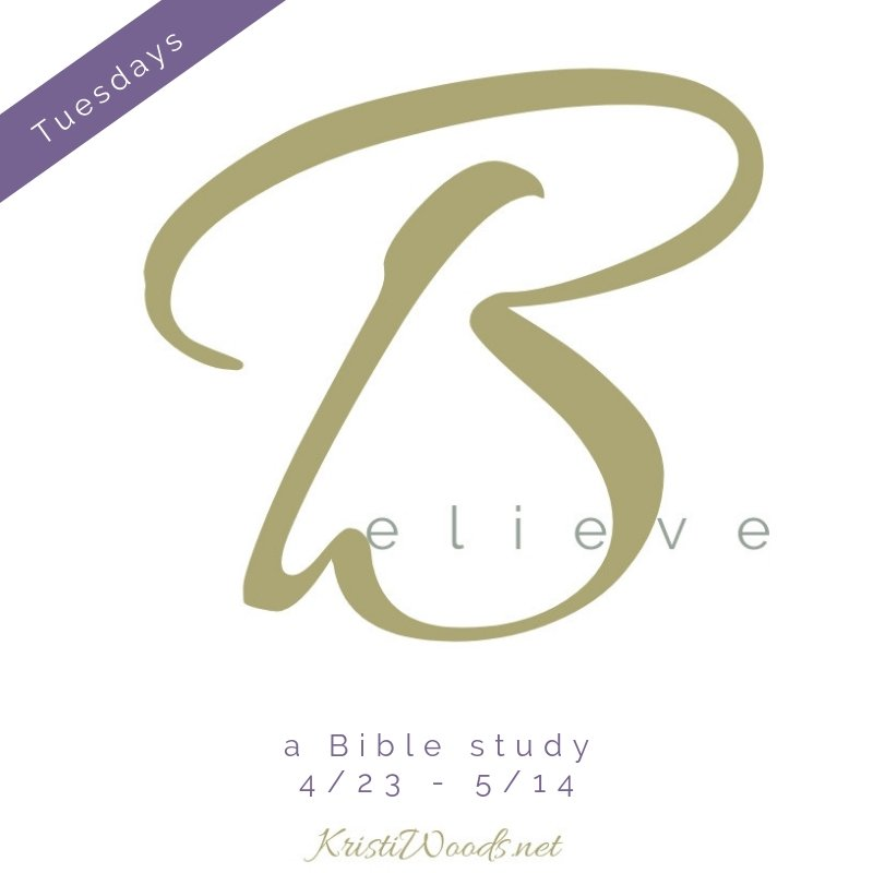 Believe: A Bible Study in gold lettering on a white background
