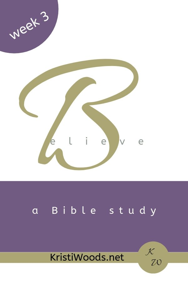 "Believe with a giant, gold B, and ""a Bible study"" written in white on a purple rectangle"