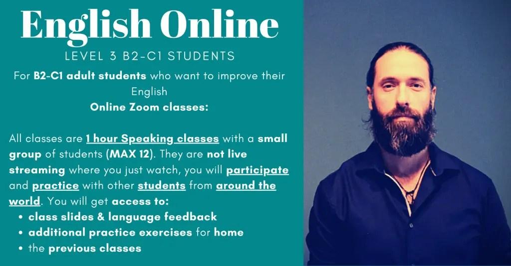 English Online Zoom Classes Level 3