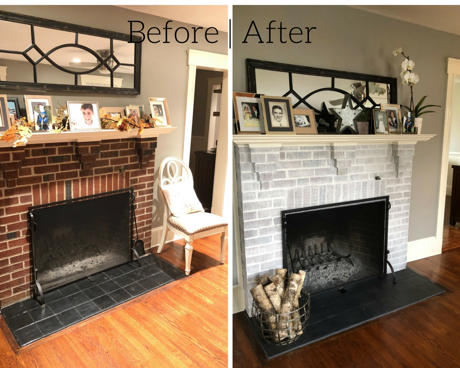 WHAT WE DID: BEFORE | Original red brick fireplace with (painted) black tile. AFTER | Ok guys