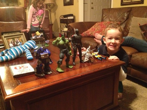 Mack and his many men.  He got some of these for his birthday and some were just brought along for the ride!