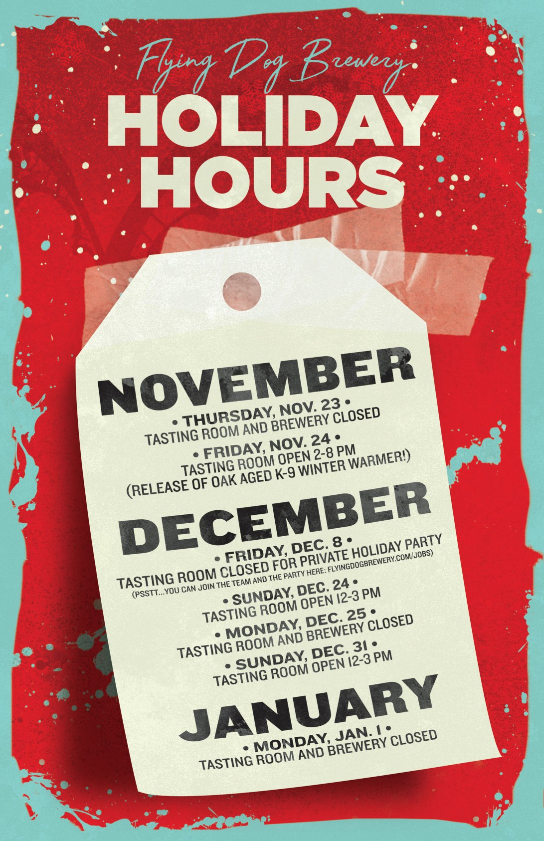 Flying Dog Brewery holiday hours poster