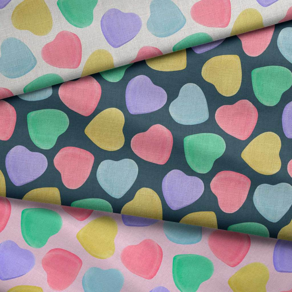 candy hearts patterned fabric