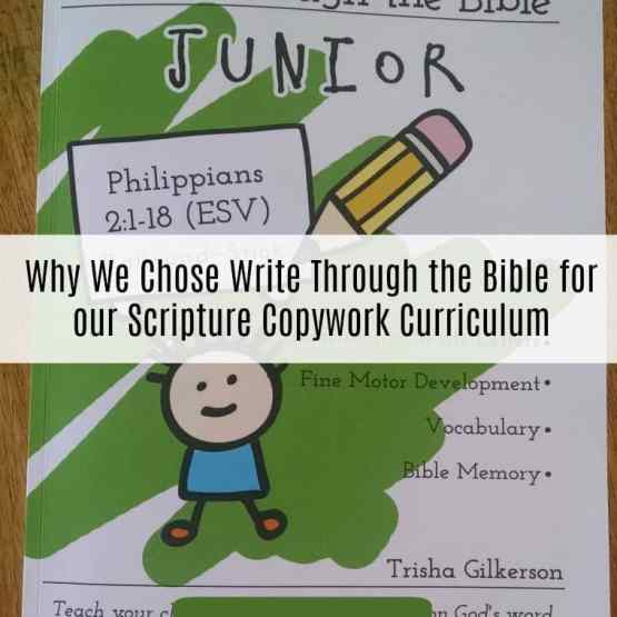 Why We Chose Write Through the Bible for our Scripture Copywork Curriculum | Kristy's Cottage blog