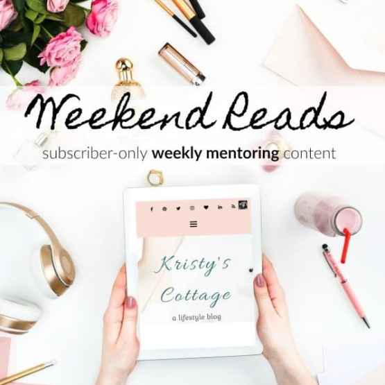 It's still free stuff, but more like a conversation over a cup of tea rather than a good read on a blog. Check out my weekly mentoring email, Weekend Reads!