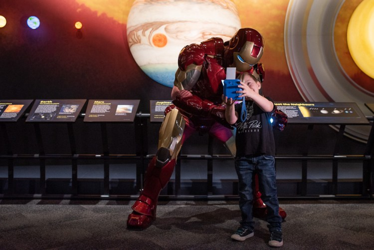 Kane meeting Iron Man at Telus World of Science