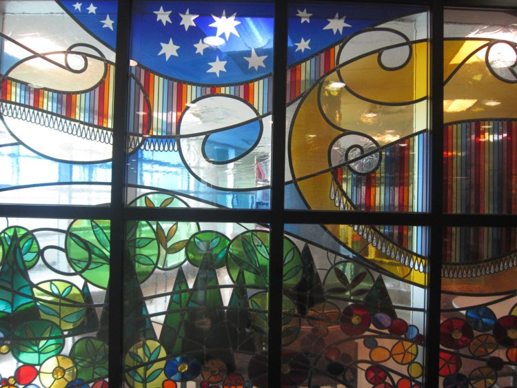 An image of a stained glass window taken by a child.