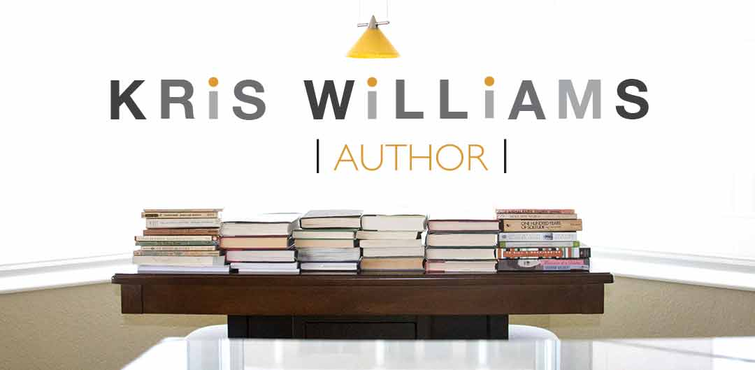 Kris Williams Author Logo With Books on Table