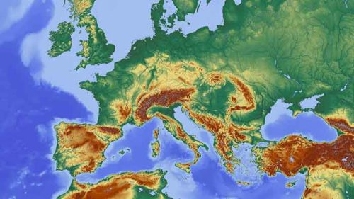 Europe Map With Mountains