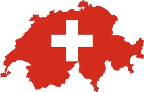 Map of Red Switzerland With White Cross