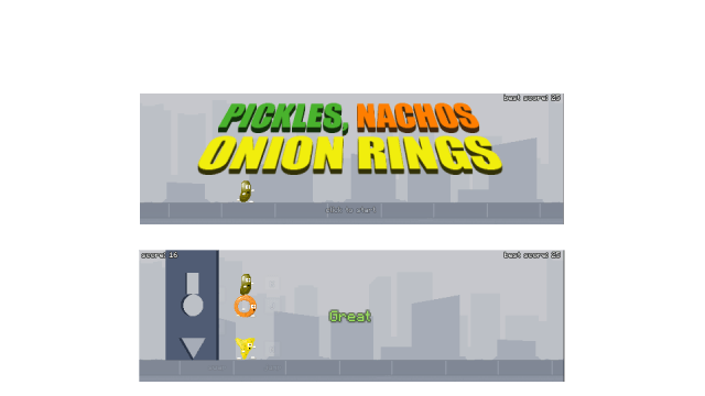 Pickles, Nachos, Onion Rings -  screens from the game
