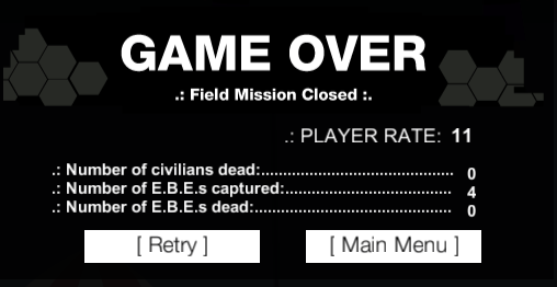 Reptile - game over screen