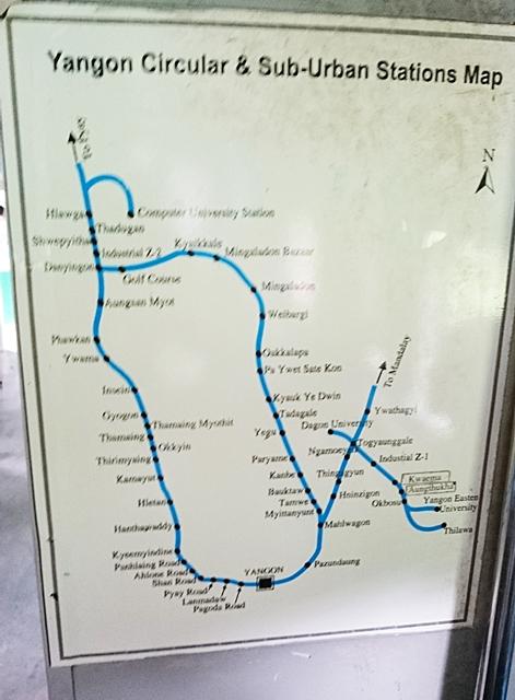 ヤンゴン駅を中心とした環状線