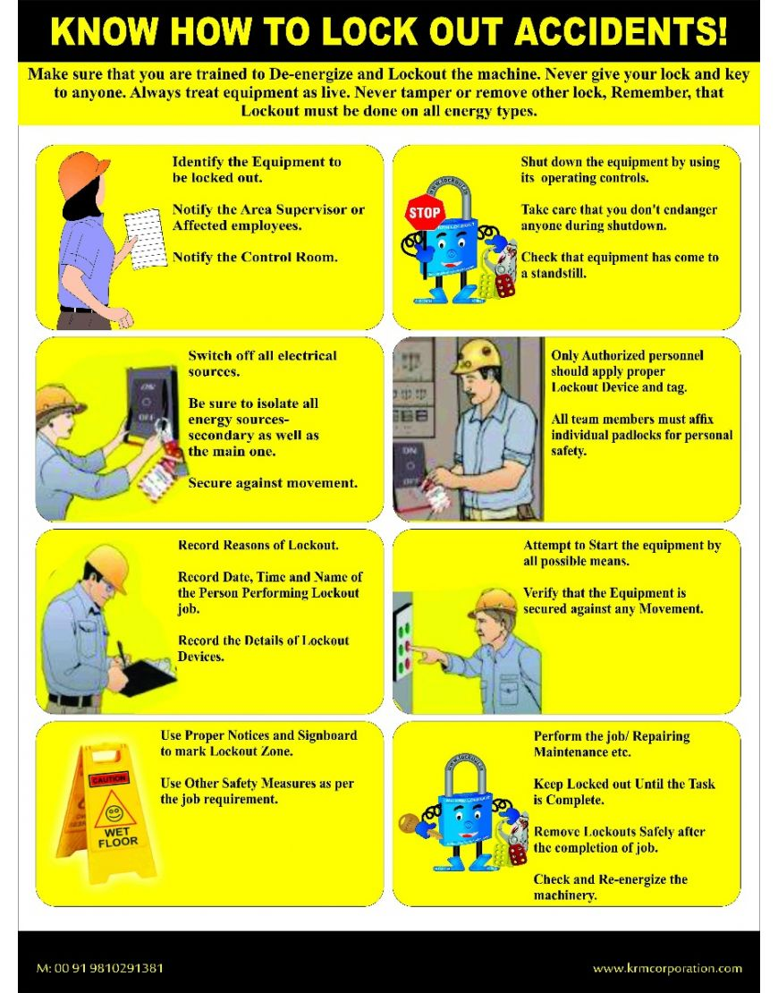 lockout safety poster with 3mm thick foam board 24 18