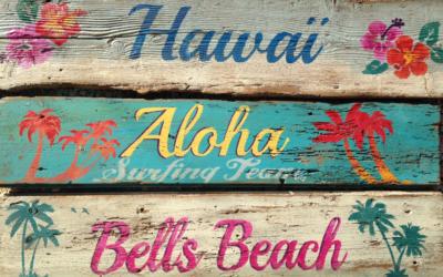 enseigne bois hawai
