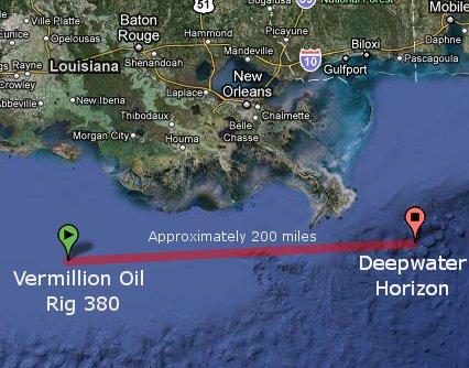 Location of Vermillion 380 Oil Platform