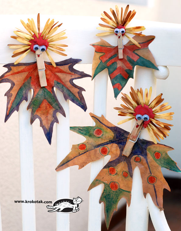Colourful figures from leaves