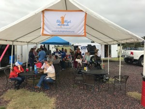 Fundraiser tent with bbq