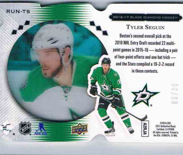 Real Card Back Image 2016 17 Upper Deck Black Diamond Run For The Cup Tyler Seguin Run