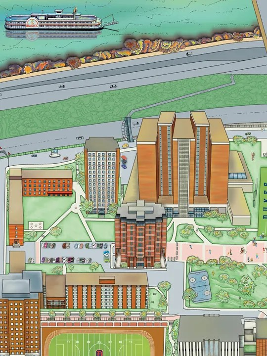 Kathy Rooney Illustration; Detail, Duquesne University Campus Map on