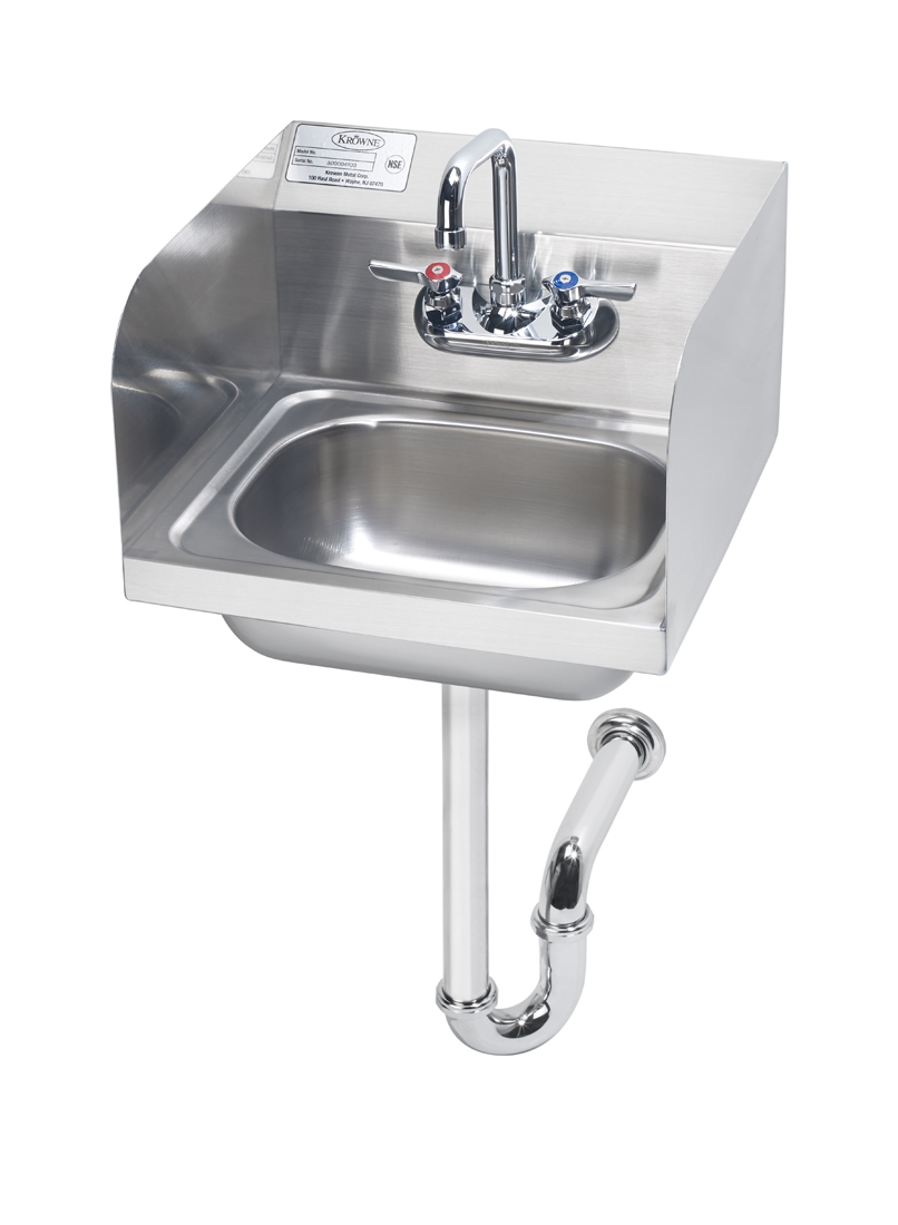 hand sink with side splashes p trap