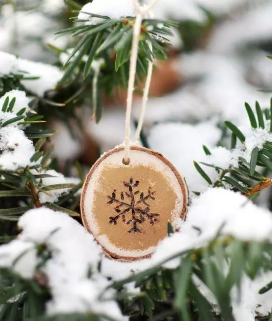 Snowflake on a spell - very cute. It is easy to do with a gas burner or simply draw acrylic. To achieve a surround image of the edge of the snowflake tinted with gold. Rustic-style decoration is ready, it remains only to hang it with a twine on a spruce branch