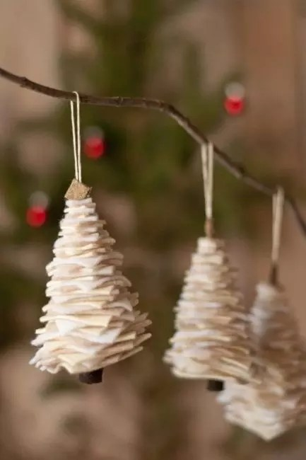 Christmas trees from felt look very elegant. As a frame - a toothpick or a thin twig. Squares of different sizes are cut out of the felt and fasten up descending size to the top, by cone. You can additionally decorate small beads