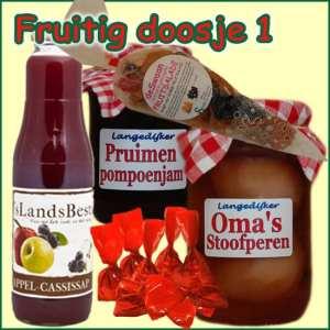 Kerstpakket Fruitig doosje 1 - Streekpakket gevuld met lokale streekproducten - Relatiegeschenk Specialist - www.kerstpakkettencadeaubon.nl