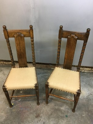 Antique dining chairs in hessian
