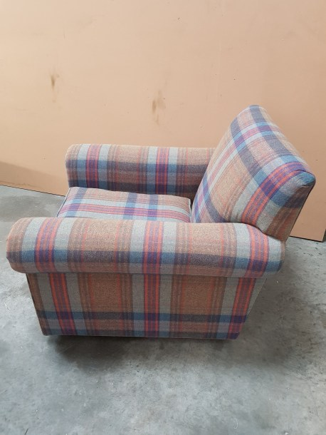 Armchair in check wool