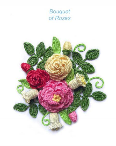 باقة من الزهور مع الورود الكروشيه