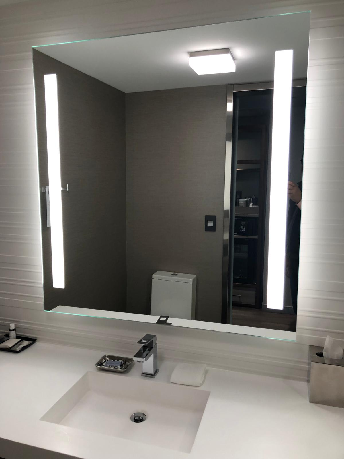 Condensation-Free Vanity Mirror With Left & Right Sandblasted Bands